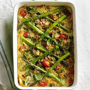 Farro, Cherry Tomato, and Asparagus Casserole From Better Homes and Gardens, ideas and improvement projects for your home and garden plus recipes and entertaining ideas.