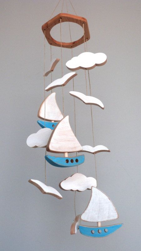 This baby mobile has 12 pieces of recycled wood never chemically treated (new wood scraps) and the pieces are cut by hand one by one, carefully