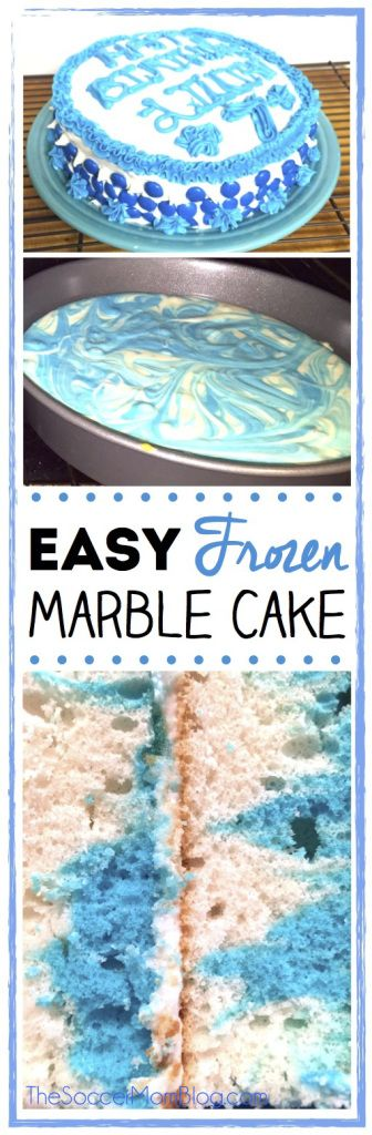 This marbled Frozen inspired cake is perfect for a special girl's birthday! Plus it's easy enough for the kids to help make too!