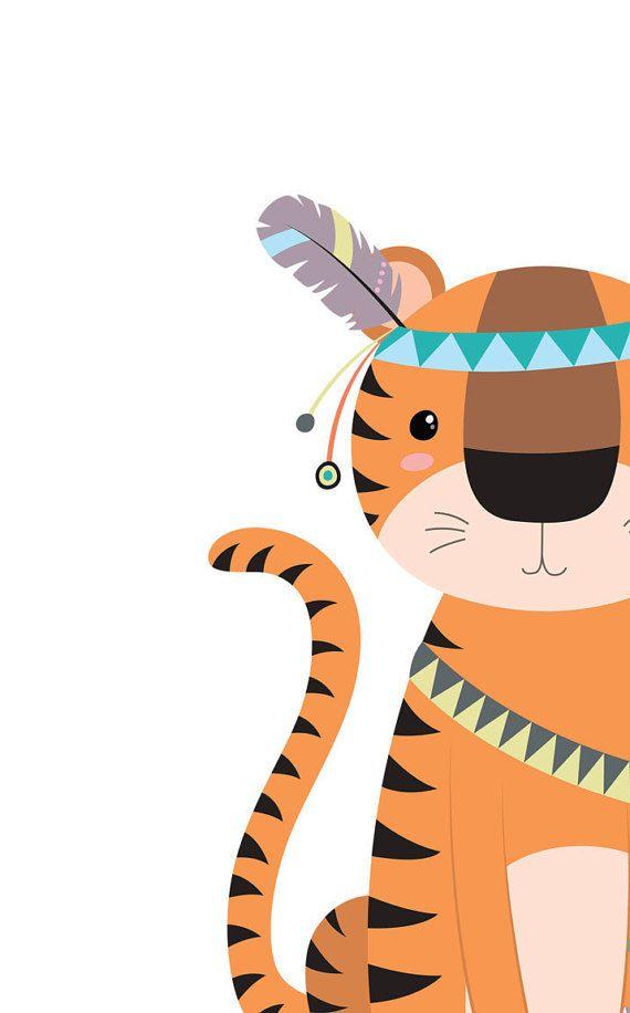 Baby tiger Tribal nursery art Jungle nursery by WordsAndConfetti