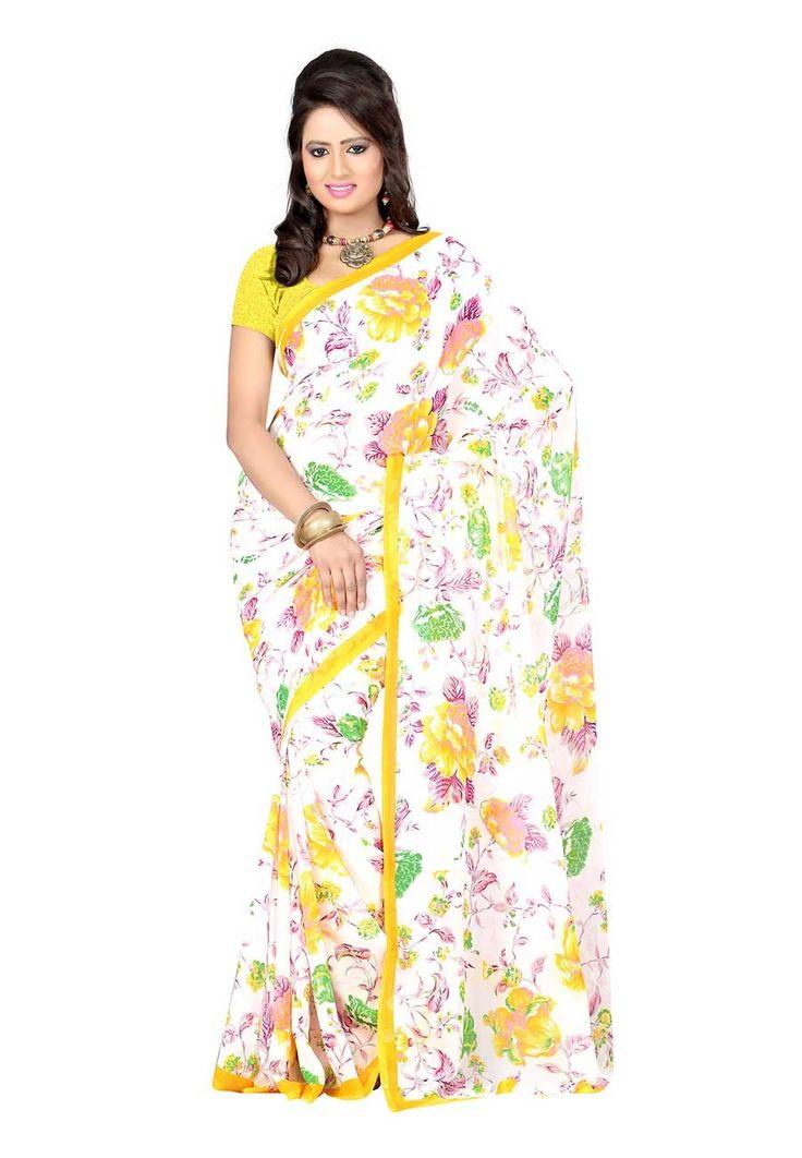 Fabdeal White Colored Georgette Printed Saree