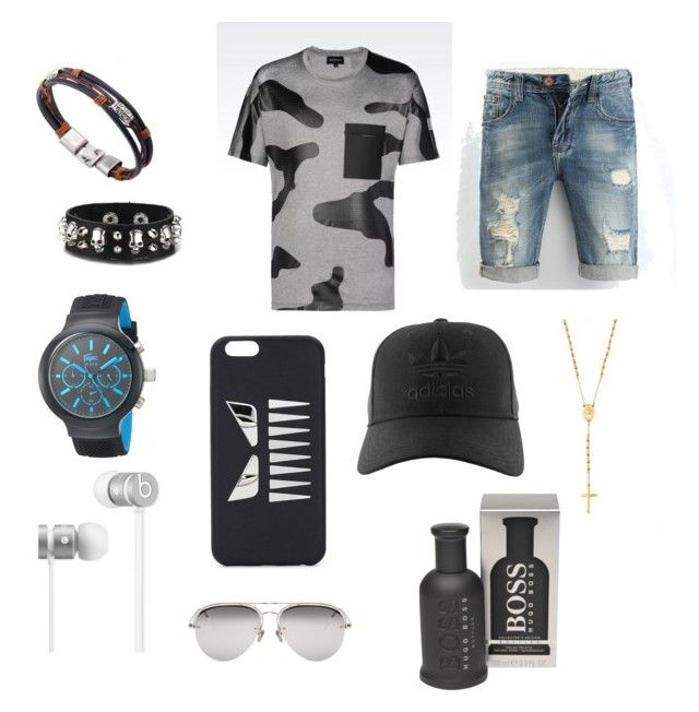 """For men😎😎😎😎"" by briana-maria-simon on Polyvore featuring Emporio Armani, Mister, Lacoste, Beats by Dr. Dre, Fendi, Linda Farrow, adidas, HUGO, men's fashion and menswear"