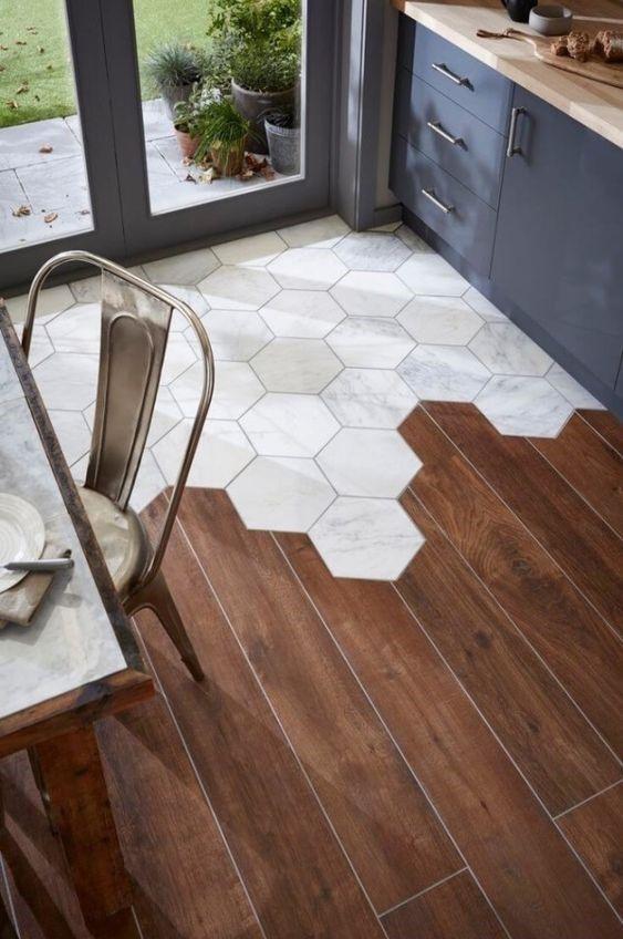 Interior decor trends 2017, hexagony tiles floor, terracotta tiles, dining room tiles, kitchen tiles, terracotta tiles mixed with wood