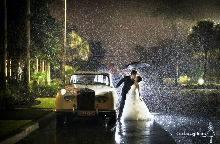 The rain, a wedding, and a classic car. <3 The kiss is just perfect too!