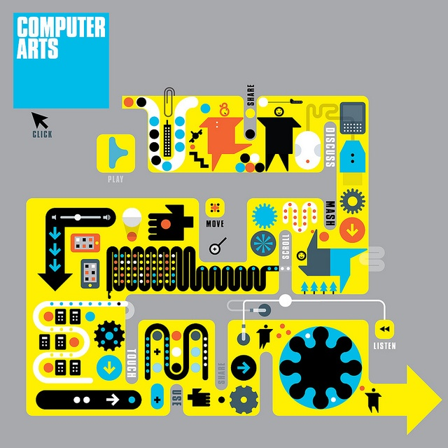 Computer Arts cover - Technology is the new machinery by Peter Grundy