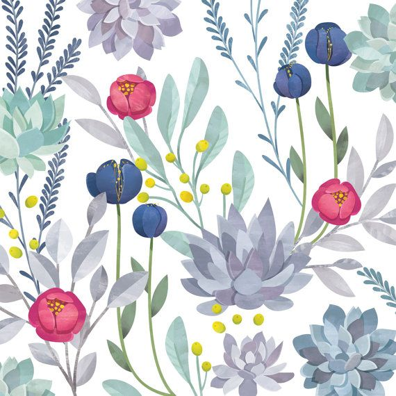 SIZE: 100 x 96  Beautiful succulent floral design! This mural is printed on our traditional paste and glue wallpaper. Its high quality matte finish allows for a beautiful statement wall. If you require a custom sizing option, please contact us via the Custom Order Request button on this listing. *email for different material options.  This mural comes in 4 panels. *Note: the color of the photo displayed may vary slightly from your monitor to our printer.  If you have any questions, please…