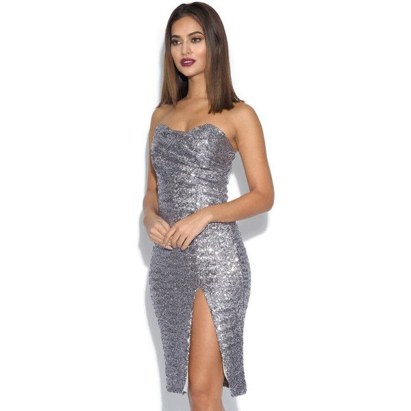 Sequin Bandeau Party Dress ($75) ❤ liked on Polyvore featuring dresses, silver, party dresses, silver bodycon dress, cocktail party dress, silver sequin cocktail dress and sparkly cocktail dresses