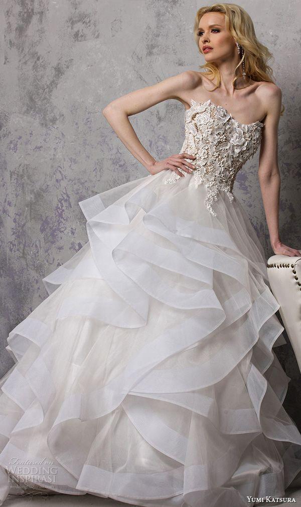 yumi katsura s2016 bridal strapless sweetheart neckline flora embroidery horsehair trim wedding ball gown dress boyet