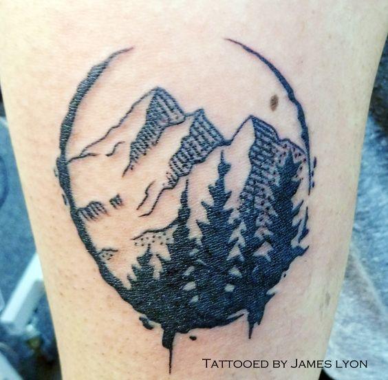 Tattoo, mountains, pine trees, black ink                                                                                                                                                      More: