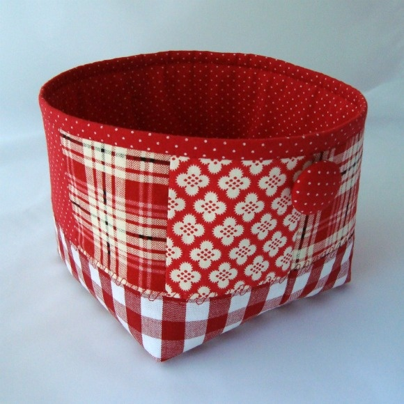 red & white fabric basket
