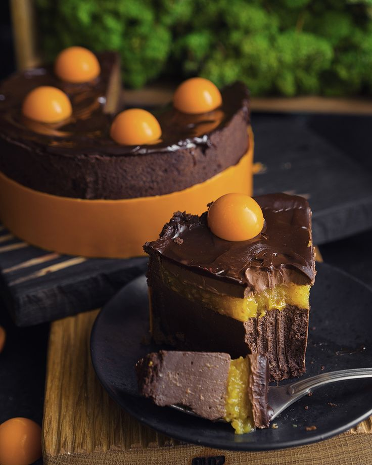 Шоколадный тарт с абрикосами и нежным муссом