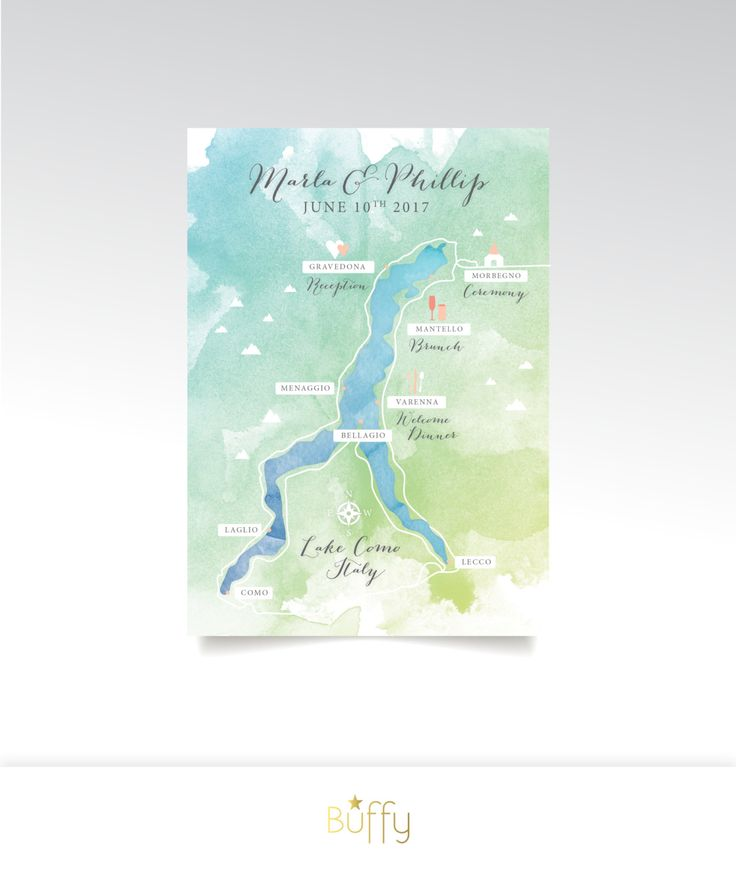 wedding reception directions card%0A Lake Como Italy Map   x  in Card   Custom Wedding Watercolor  u     Directions    Calligraphy Destination Lake Alps   PRINTED