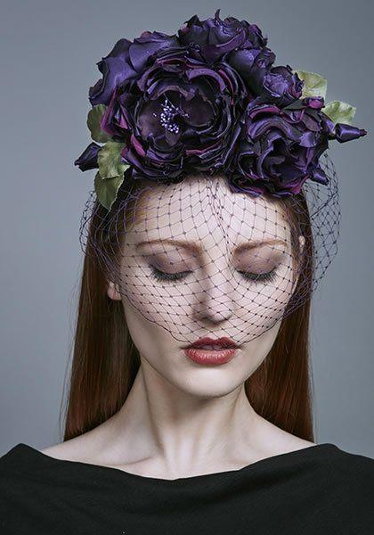 Rachel Trevor Morgan Millinery AW 2016 | R16W18 - Purple silk taffeta roses on Alice band with face veil