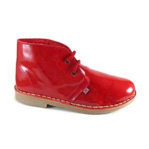 Botas con borreguito de charol rojo