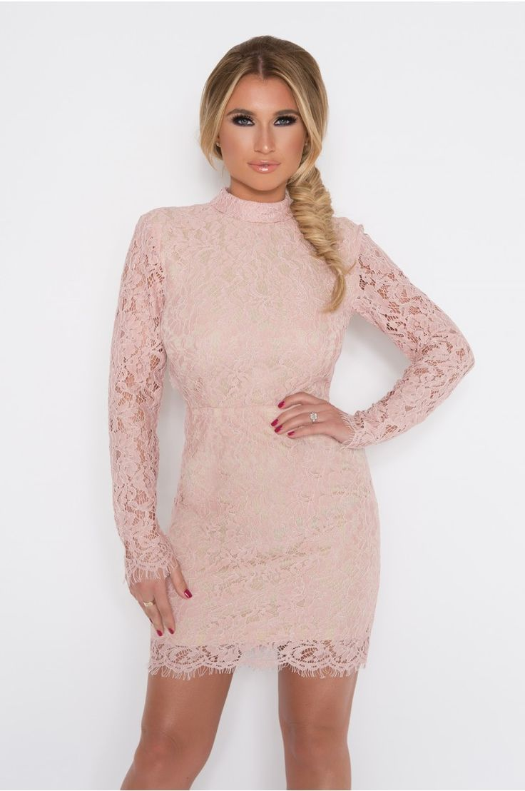 BILLIE FAIERS PINK HIGH NECK BACKLESS LACE DRESS