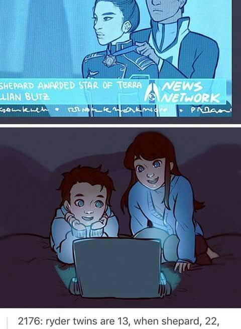The Ryder twins watching Shepard