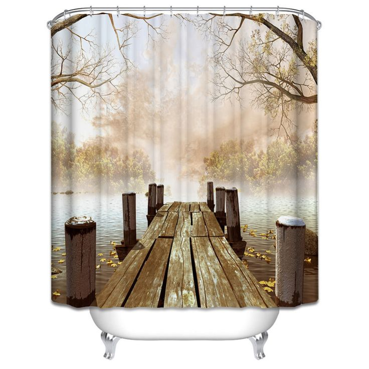 Cheap yellow shower curtain, Buy Quality shower curtain directly from China curtain bathroom Suppliers: Waterproof Polyester Yellow Shower Curtain Fall Wooden Bridge Lake Nature Country Rustic Curtains Bathroom Decor Bath Art Gifts