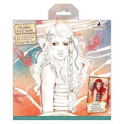 "Santoro's Willow 6 x 6"" Colour Me In Cards & Envelopes (12pk) - Santoro"
