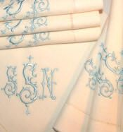 Signature Collection Monogrammed Linen Hemstitch Napkins-Shown is Isabella / bellalino.com