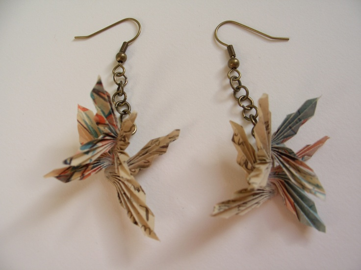 Hand Folded vintage paper earrings xxx