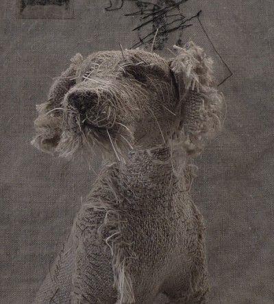 Helen Thompson's vintage textile and linen animal sculptures.