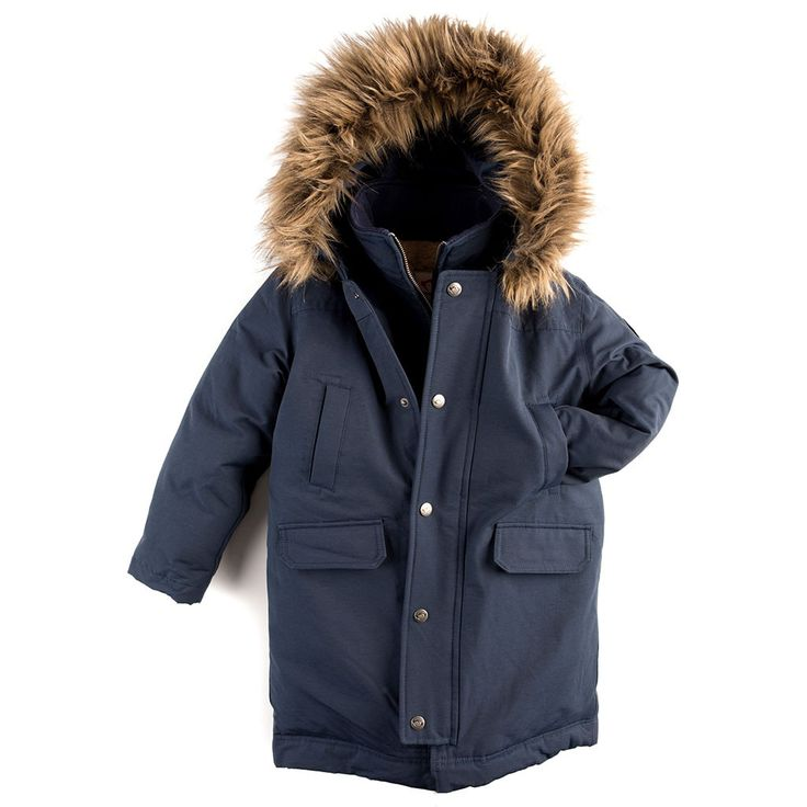 This rugged, down-filled winter parka protects boys and girls against the biting urban wind and snow, without sacrificing any style. A sturdy water-resistant canvas shell keeps you dry, and the sherpa