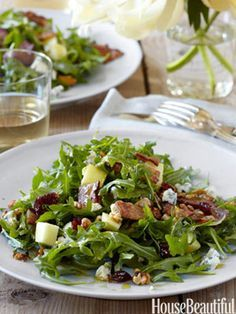 Ina Gartens Cape Cod Chopped Salad (bacon, arugula, apple, walnut, blue cheese, cranberry)