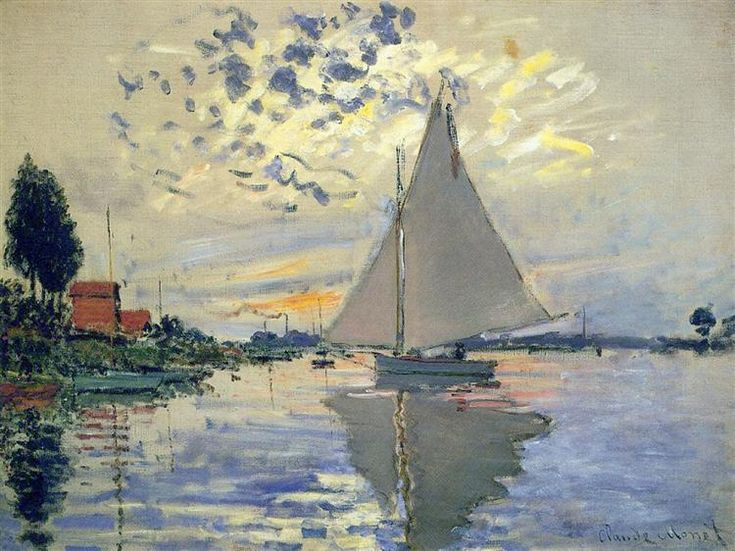 Sailboat at Le Petit-Gennevilliers, 1874 by Claude Monet. Impressionism. landscape