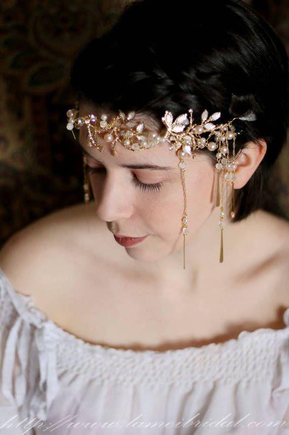 Gold leaf crown Gold bridal head piece Gold bridal crown by LAmei