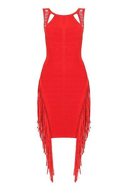 Fab's Classy Red Tassel Bandage Dress
