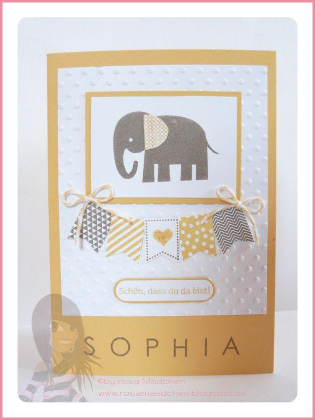 Stampin' Up! Rosa Mädchen Babykarte mit Fähnchen, Zoo Babies und Back to Basics Alphbet.