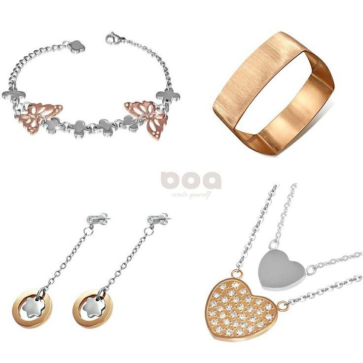 w kolorze różowego złota - biżuteria ze stali szlachetnej