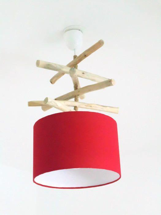 Lustre bois flotté rouge abat jour cylindre 28 cm