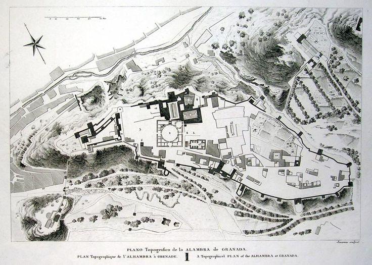 Plano topografico de la Alambra de Granada > Grabados, Arquitectura . Frame | Grabados, Mapas Antiguos, Atlas y Libros de Viaje Madrid