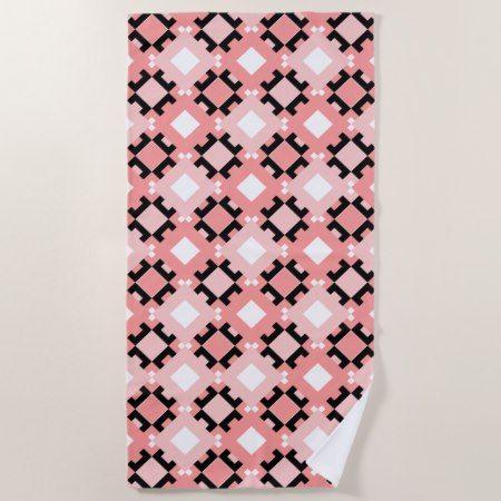 Pastel Pink Geometric Pattern Beach Towel - #beach #towel #beachtowel #geometric #beachlife #pink #stylish #modern