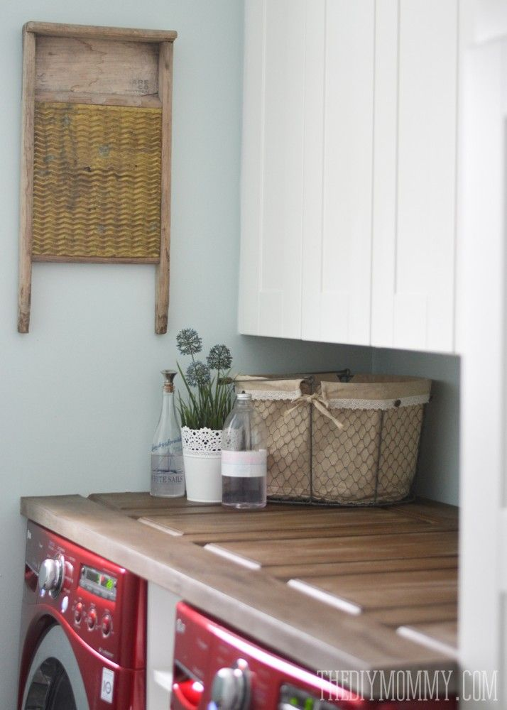 How to make a laundry room counter top from a door; such a unique countertop idea!