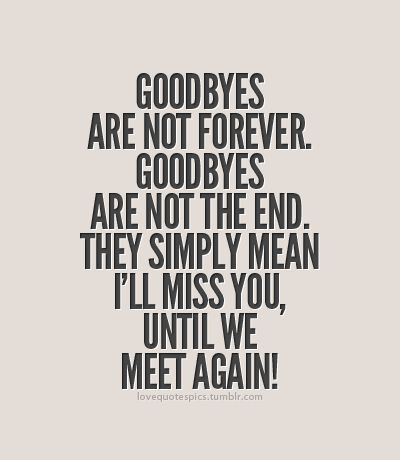 For Missionary Moms...Goodbyes are not forever. Goodbyes are not the end. They simply mean I'll miss you, until we meet again!