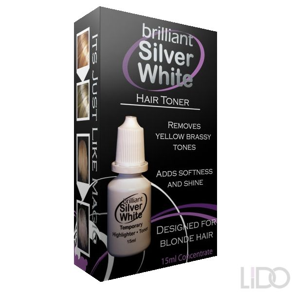 Brilliant Silver White is a temporary toner and highlighter designed to remove yellow and brassy colours form blonde and grey hair.