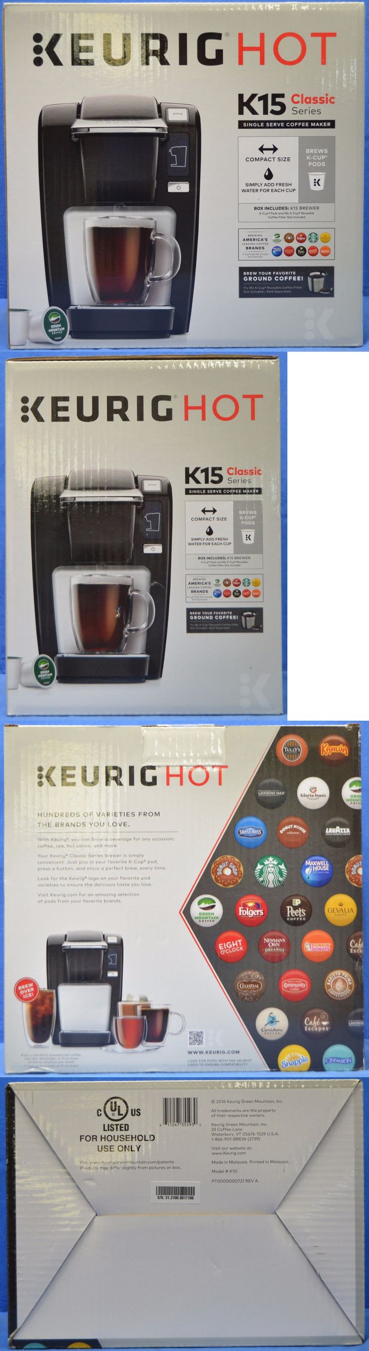 Other Coffee and Tea Makers 159902: New Keurig Hot K15 Classic Series Single Serve Coffee Maker Black Model #K10 -> BUY IT NOW ONLY: $53.95 on eBay!