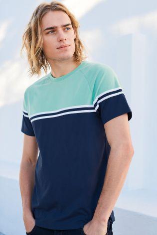 Acheter T-shirt vert menthe/bleu marine avec empiècement en ligne sur Next : France