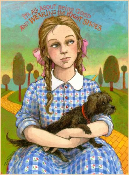 Dorothy Gale and Toto, from Wizard of Oz. Illustration by Trina Schart Hyman. All you need is the right shoes.
