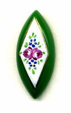Pretty Antique Green Glass Button...Spindle with Enamel Pink Rosebuds