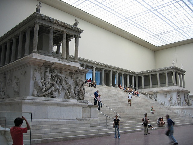 "Reconstructed west front of the alter from Pergamon.  c. 175-150 BCE. marble, height of figure 7'7"".  Staatliche Museen zu Berlin, Pergamonmuseum, Berlin  -Julie Fegler"