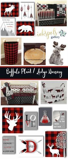 There's nothing that says cozy and comfortable like buffalo plaid! Create a homey nursery for your little Lumberjack with some of these warm and snuggly nursery ideas. Customized print collections @etsy.com/shop/inkspotsgallery?ref=seller-platform-mcnav&search_query=buffalo+plaid. Buffalo plaid nursery bedding @etsy.com/listing/522447543. Hamper @etsy.com/listing/557368303. Adorable moose @https://shop.nordstrom.com/s/jellycat-woodland-babe-moose-stuffed-animal/4410483