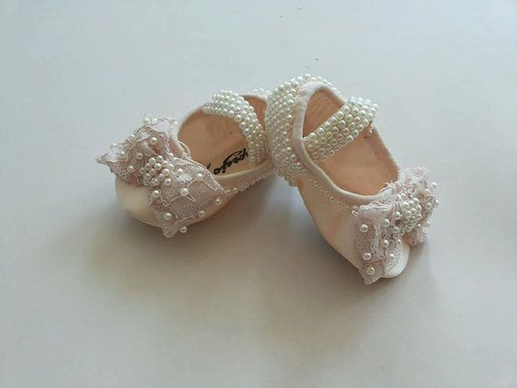 Cream Ballet Shoes, Swarovski Crystal Baby Shoes, Baby Wedding Shoes, Baby, Christening Shoes, Pearls shoes,New born shoes, Girls Shoes