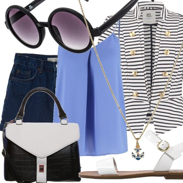 Il blazer doppiopetto a righe valorizza  il top azzuro e gli shorts di jeans. Abbiniamo la borsa a mano lady like in color block e il sandalo flat bianco ottico per una passeggiata in città o una gita in qualche località balneare.