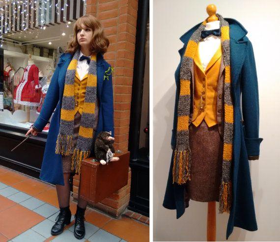 LAST ONE- Femme Newt Scamander Costume Cosplay - Coat, Skirt and Waistcoat-  Gender Swap Female Hand Made To Measure In The U K