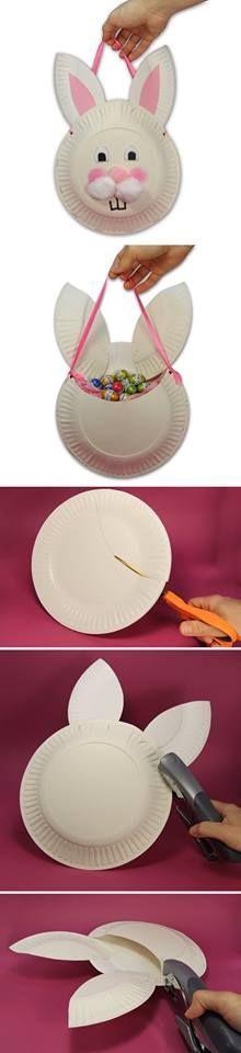 DIY Easter Bunny Bag, craft, Pasen, knutselen, kinderen, basisschool, papieren bord, paashaas