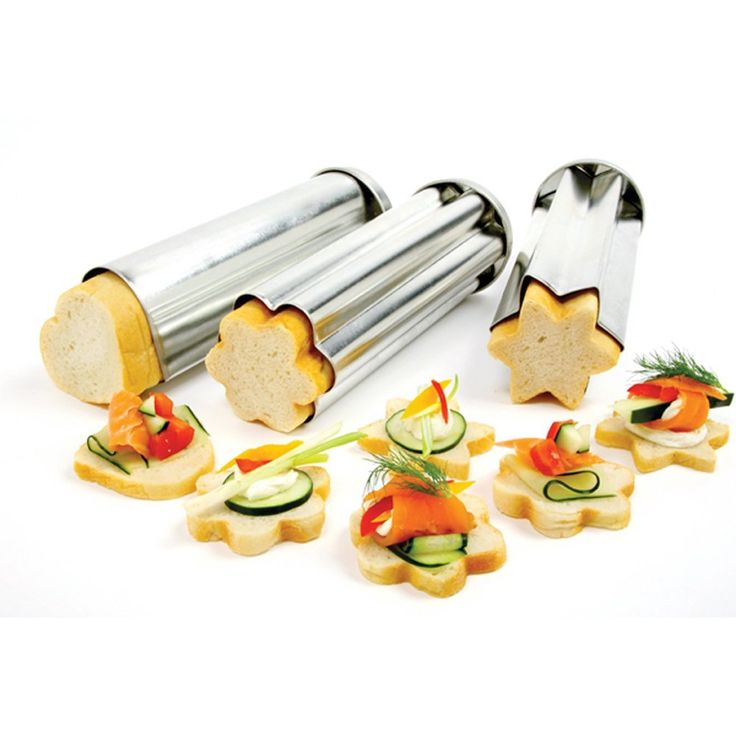 Norpro 3 Piece Canape Bread Mold Set: Spray with Pam and use one Pillsbury French style bread roll for each mold!  Great for tea sandwiches and for kids.