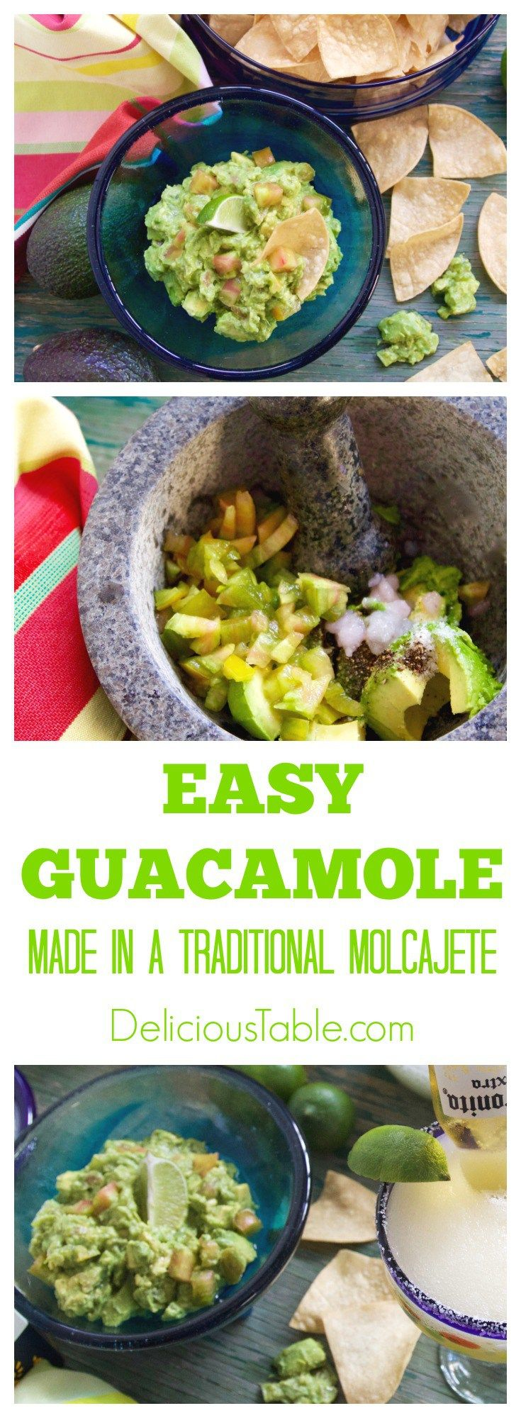 Make Easy Guacamole in a traditional molcajete (or a bowl with forks) and serve with salty crunchy tortilla chips. Great on tacos, enchiladas, and taquitos!